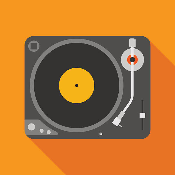 ilustrações, clipart, desenhos animados e ícones de vinyl player icon with long shadow. flat style illustration - toca discos