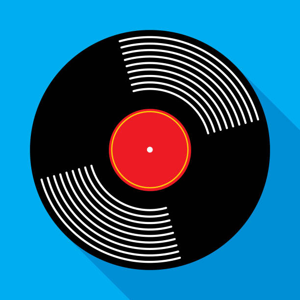 stockillustraties, clipart, cartoons en iconen met vinyl record album pictogram - disk
