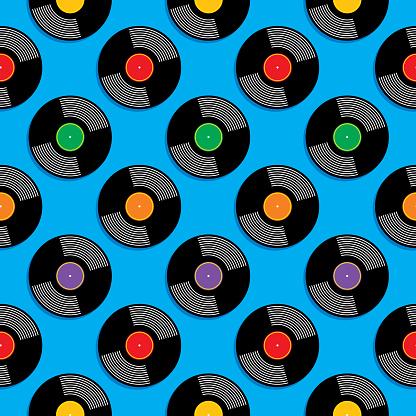 Vinyl Record Albums Seamless Pattern