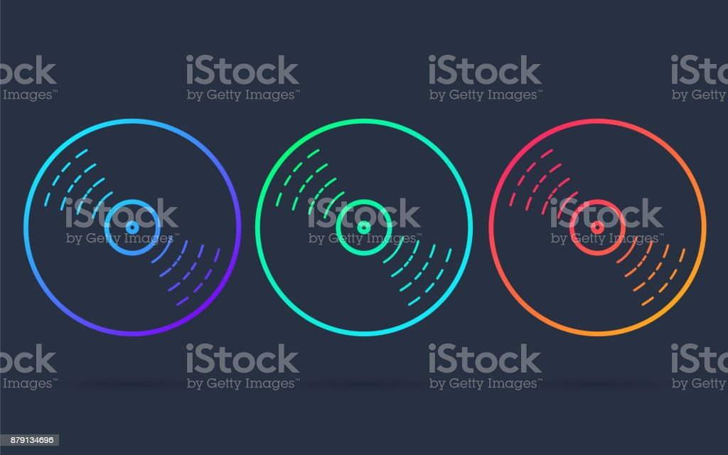 Vinyl record disc, thin line icon or symbol for web or app in bright neon colors. vector art illustration