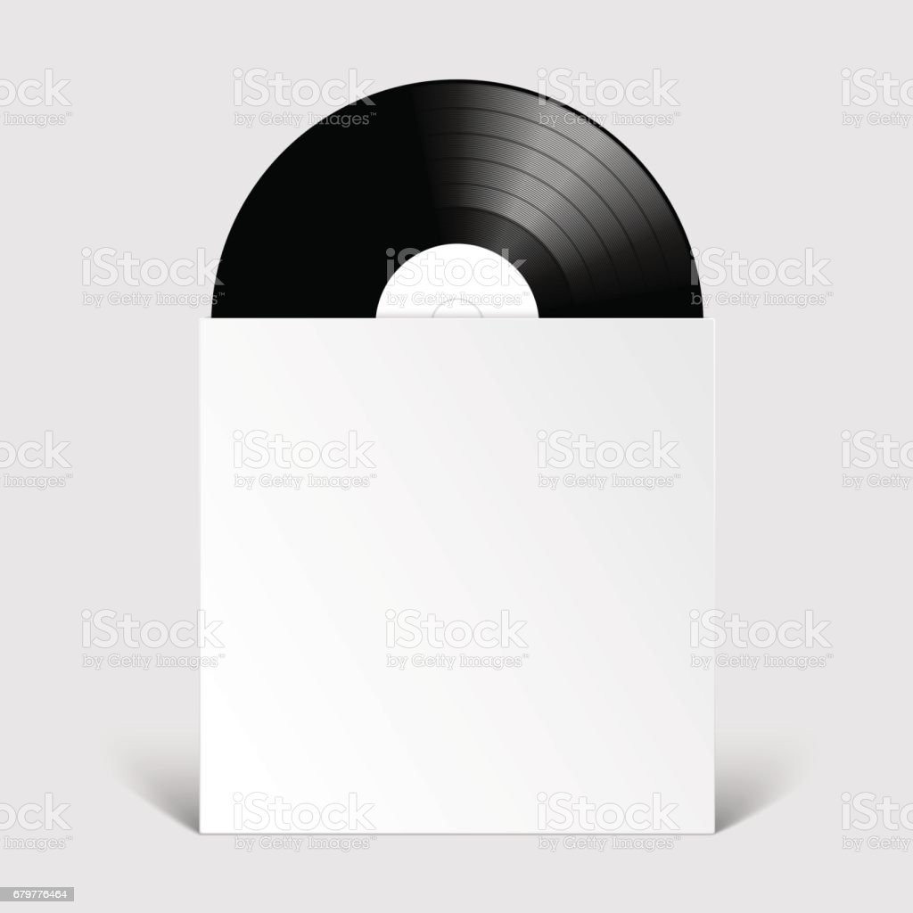 Vinyl Record disc with Cover Mockup vector art illustration