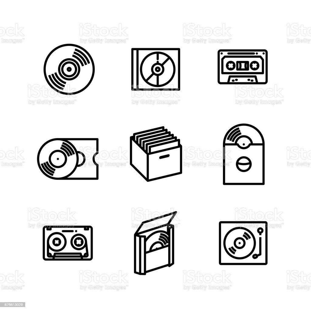 Vinyl Record Music Collector Icon Set vector art illustration
