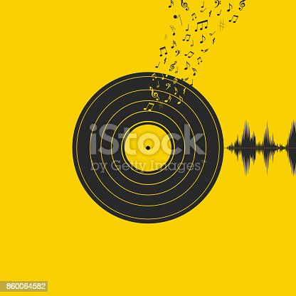 Vinyl Record with notes and music symbols on yellow background