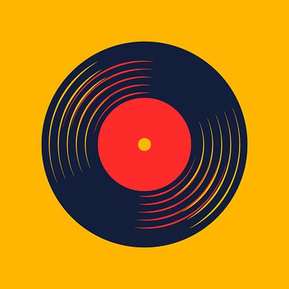 vinyl record music vector with vinyl record word