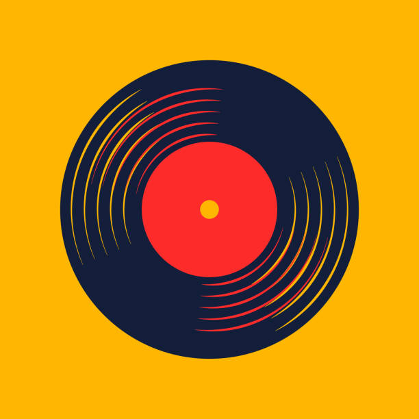 vinyl record music vector with vinyl record word - record analog audio stock illustrations