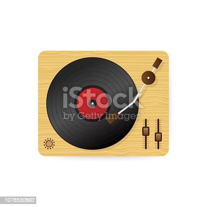 Vinyl record player illustration, flat cartoon retro vintage turntable playing melody. Vector stock illustration.