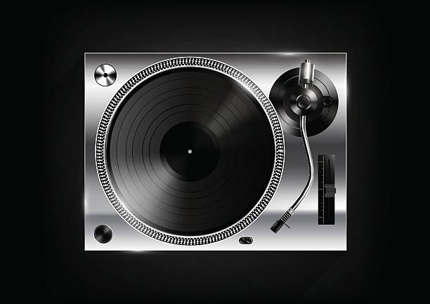 ilustrações, clipart, desenhos animados e ícones de vinyl record player on black background and long shadow, vector - toca discos