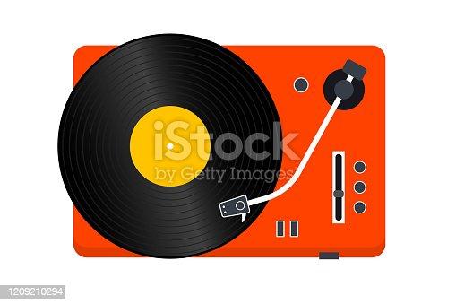 istock Vinyl Record player. Player for vinyl record. Retro design. Front view. Vinyl record disc 1209210294