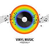Vinyl record. Realistic musical retro disk, vintage singles record, rainbow spectrum and notes wave, old music media banner. Vector colorful festival poster, events and party flyer on white background
