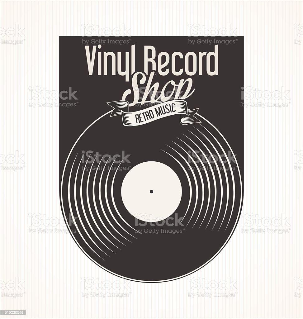 Vinyl record shop retro grunge banner vector art illustration