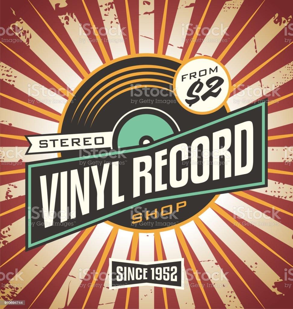 Vinyl record shop retro sign design vector art illustration