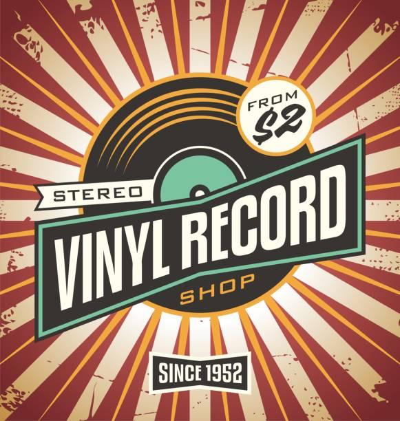 ilustrações, clipart, desenhos animados e ícones de projeto de retrô de loja de discos de vinil - toca discos