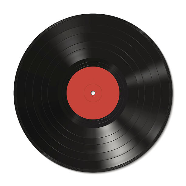 Vinyl record template Vector illustration of a vinyl record with red label. entertainment club stock illustrations