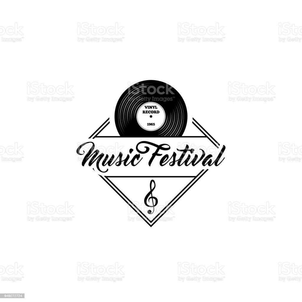Vinyl Record Treble Clef Music Festival Logo Template Musical Icons ...