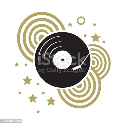 vinyl record with gold retro circles and stars
