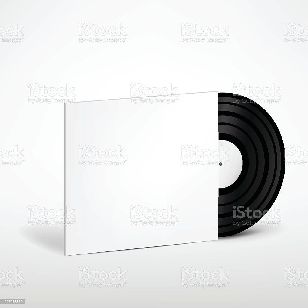 Vinyl Record with Cover Mockup vector art illustration
