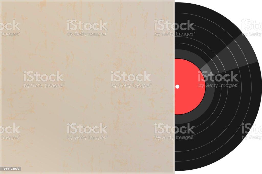 Vinyl-Schallplatte mit leeren Hülle, Vektor – Vektorgrafik