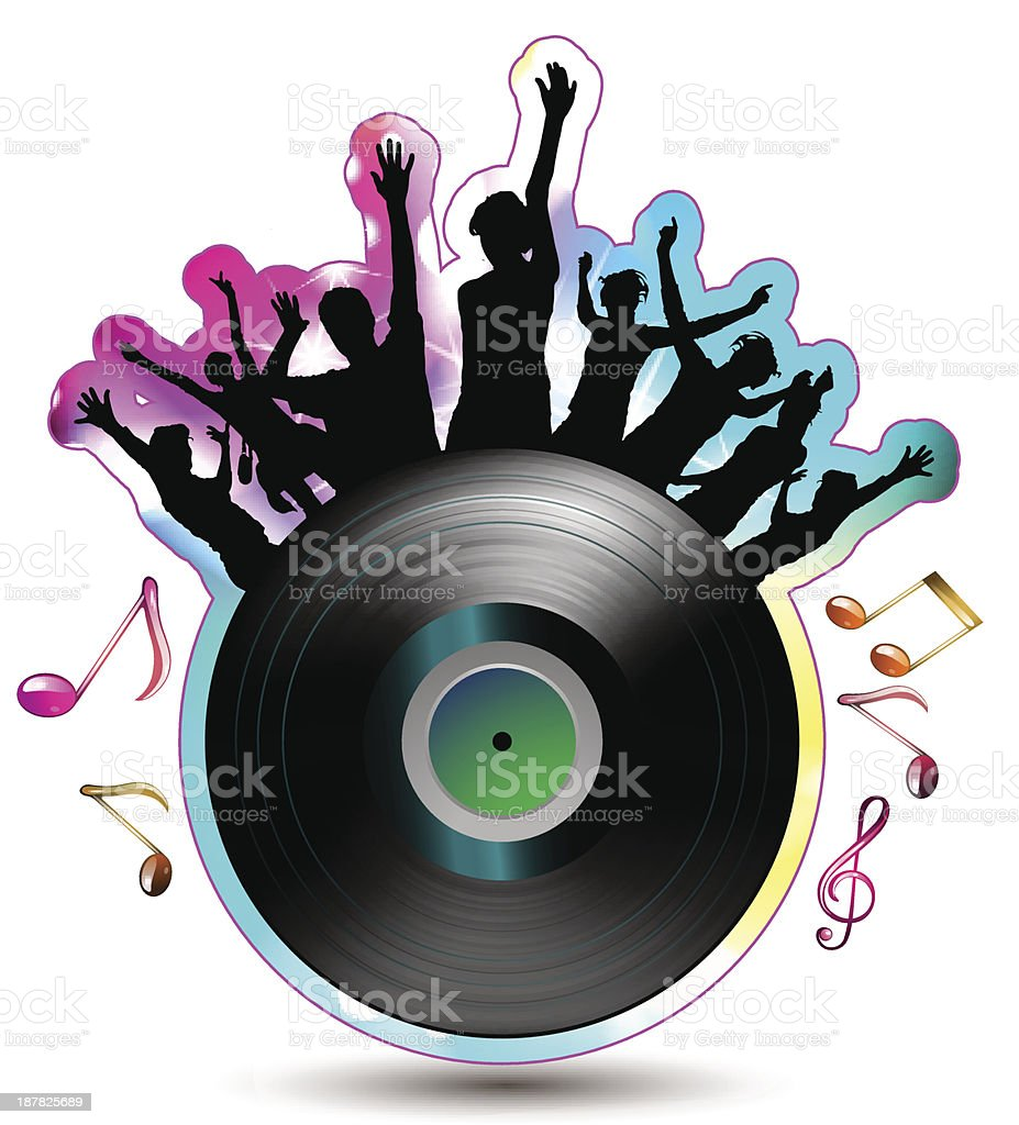 Vinyl record with silhouettes royalty-free stock vector art