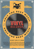 Vinyl records retro music poster. Old-fashioned record disk for gramophone device. Vintage vector drums silhouette with bass, floor torn and cymbals, hi-hat and snare or side drum musical instrument
