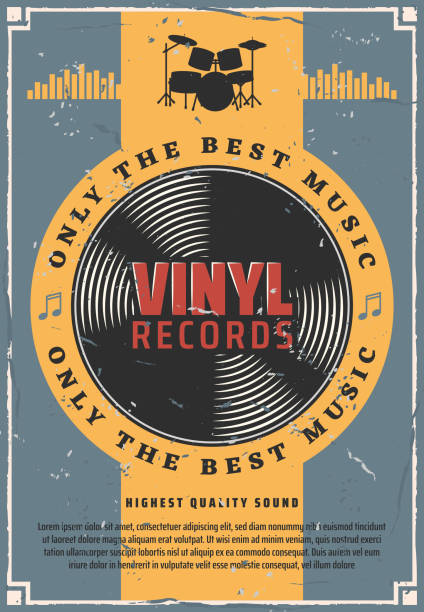 vinyl records and bass drum music - talerz perkusyjny stock illustrations