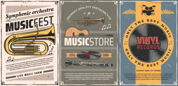 stockillustraties, clipart, cartoons en iconen met vinyl platen, gitaar, drum. muziekinstrument - klarinet