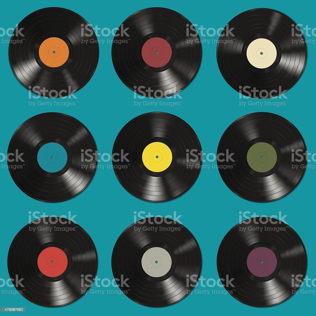 Vinyl records pattern vector art illustration