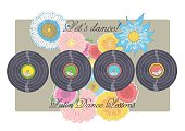 Illustration of Latin music vinyl records with flowers and inscriptions.