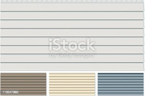 istock Vinyl Siding Clapboard Sample Set Done in Four Different Colors 115047960