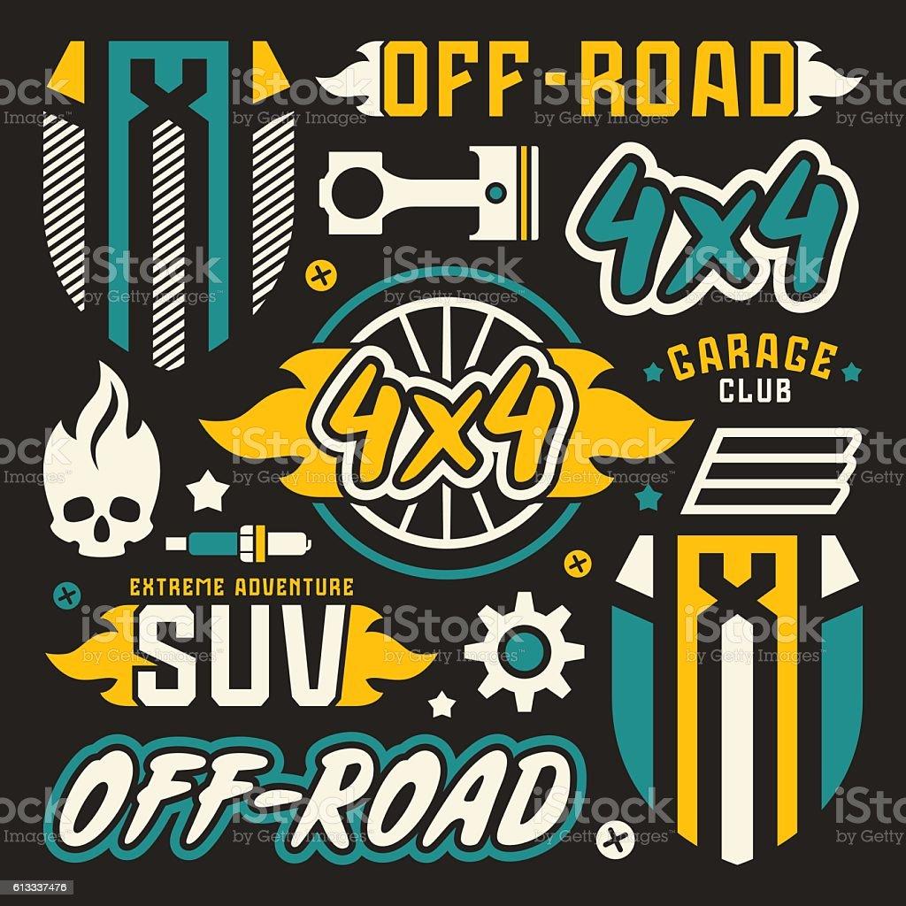 Vetores de Vinyl Stickers And Badges For Offroad Car e mais imagens