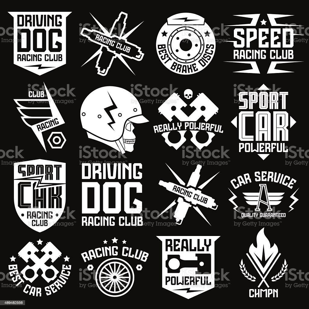 Vinyl stickers on car vector art illustration