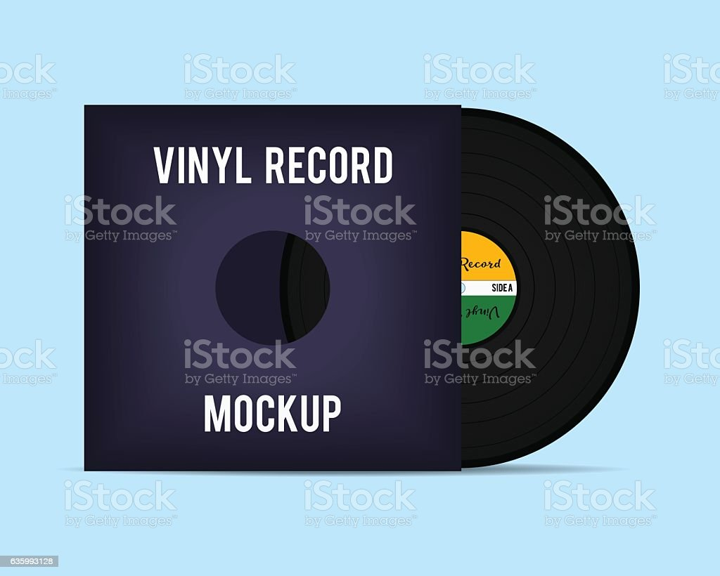 Vinyl template. Vinyl Record with Cover Mockup. Vector illustration. vector art illustration