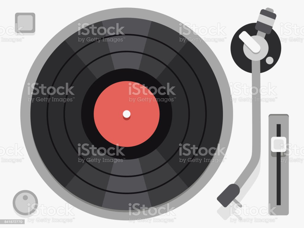 Vinyl turntable. Flat vector illustration vector art illustration