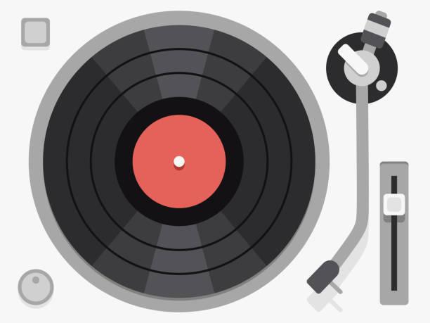 ilustrações, clipart, desenhos animados e ícones de vinyl turntable. flat vector illustration - toca discos