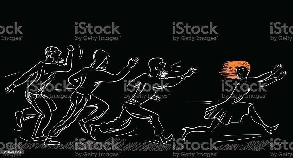Violence against women, rape concept. Social theme illustration. vector art illustration