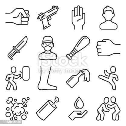 Violence and Crime Icons Set. Line Style Vector illustration