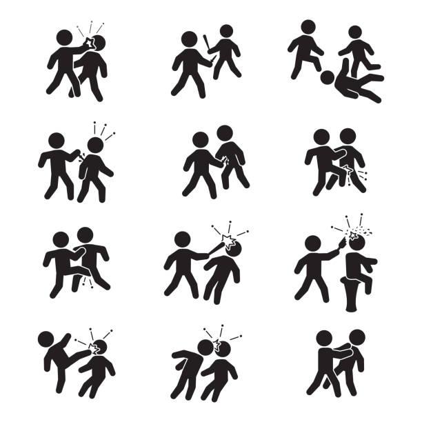 ilustraciones, imágenes clip art, dibujos animados e iconos de stock de conjunto de iconos de la violencia. conjunto de vector de la violencia. - lucha