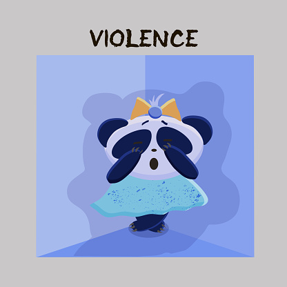 Violence. Mental Health Problem. Little scared panda, subjected to violence on a gray background. Vector illustration for websites, brochures, magazines. Cartoon, Flat. Medicine concept.