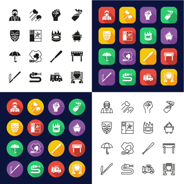 Violent Demonstration Icons All in One Icons -Black & White-Color Flat Design-Thin Line- Set This image is a vector illustration and can be scaled to any size without loss of resolution. dumpster fire stock illustrations