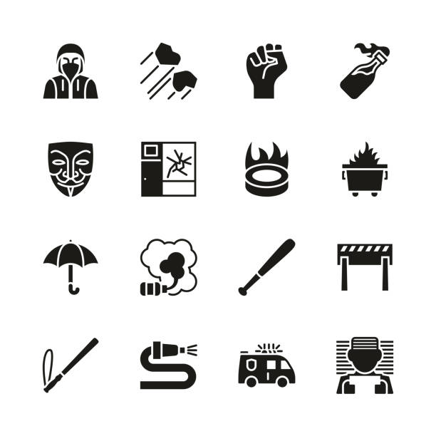 Violent Demonstration Icons Black & White Set This image is a vector illustration and can be scaled to any size without loss of resolution. dumpster fire stock illustrations