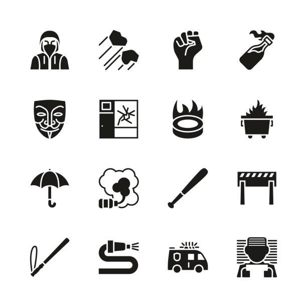 暴力示威圖示黑色和白色設置 - dumpster fire 幅插畫檔、美工圖案、卡通及圖標
