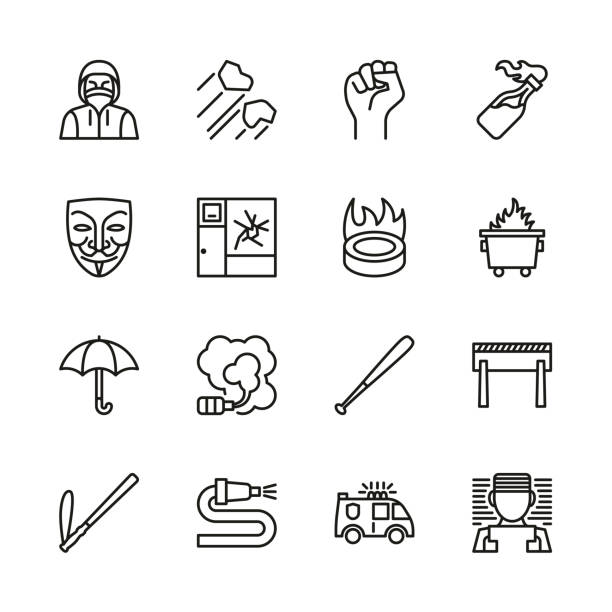 Violent Demonstration Icons Thin Line Set This image is a vector illustration and can be scaled to any size without loss of resolution. dumpster fire stock illustrations