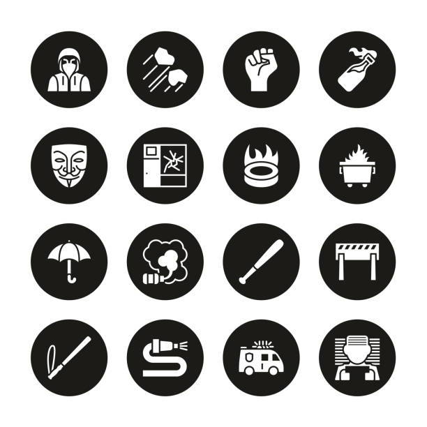 Violent Demonstration Icons White On Black Circle Set This image is a vector illustration and can be scaled to any size without loss of resolution. dumpster fire stock illustrations