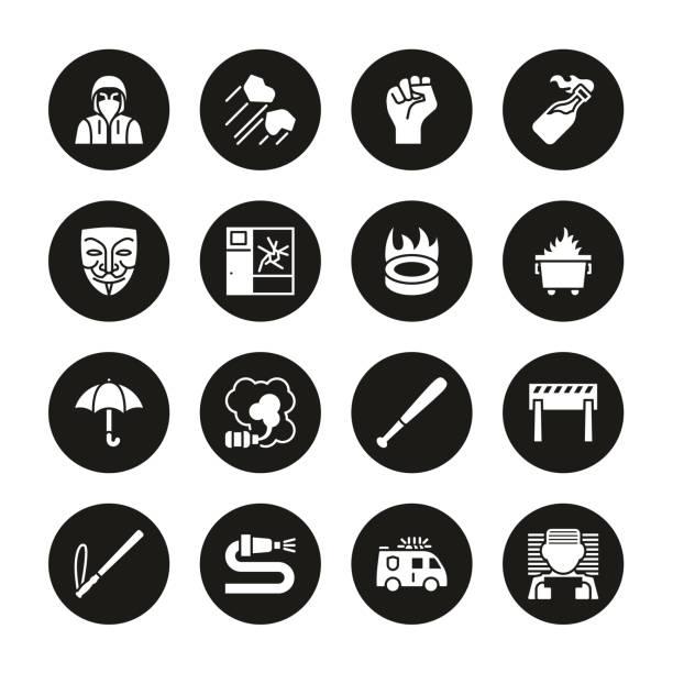 暴力示威圖示白色在黑色圓圈集 - dumpster fire 幅插畫檔、美工圖案、卡通及圖標