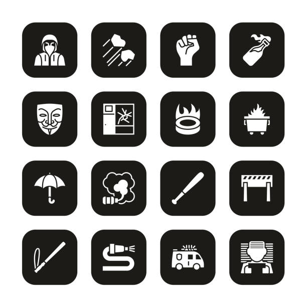 Violent Demonstration Icons White On Black Set This image is a vector illustration and can be scaled to any size without loss of resolution. dumpster fire stock illustrations