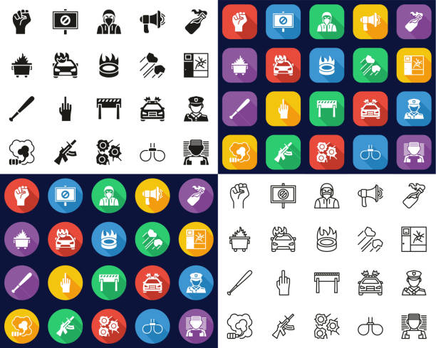 Violent Protest Or Demonstration Icons -Black & White-Color Flat Design-Thin Line- Set This image is a vector illustration and can be scaled to any size without loss of resolution. dumpster fire stock illustrations