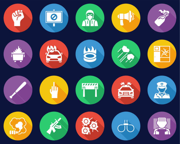 Violent Protest Or Demonstration Icons Flat Design Circle Set Big This image is a vector illustration and can be scaled to any size without loss of resolution. dumpster fire stock illustrations