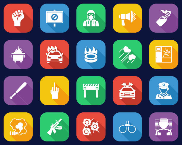 Violent Protest Or Demonstration Icons Flat Design Set Big This image is a vector illustration and can be scaled to any size without loss of resolution. dumpster fire stock illustrations