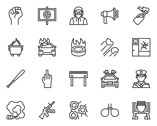 Violent Protest Or Demonstration Icons Thin Line Set Big This image is a vector illustration and can be scaled to any size without loss of resolution. dumpster fire stock illustrations