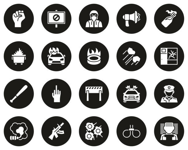 Violent Protest Or Demonstration Icons White On Black Circle Set Big This image is a vector illustration and can be scaled to any size without loss of resolution. dumpster fire stock illustrations