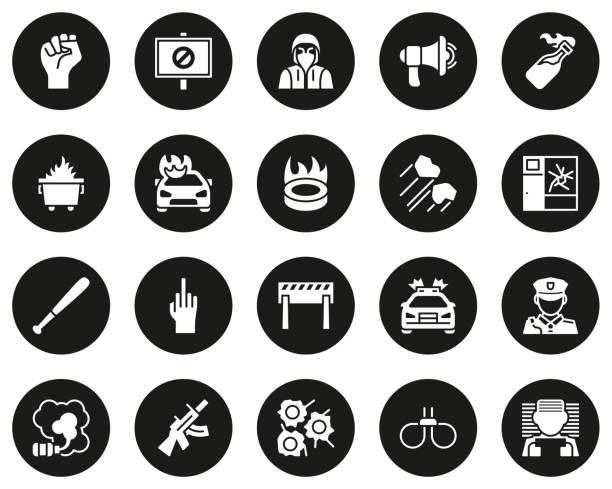 暴力抗議或示威圖示白色在黑色圓圈設置大 - dumpster fire 幅插畫檔、美工圖案、卡通及圖標